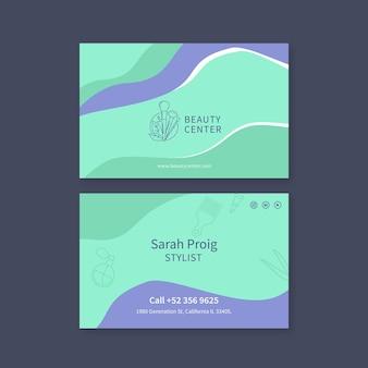 Tweezijdig visitekaartje van de schoonheidssalon