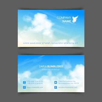 Tweezijdige horizontale visitekaartjes met realistische beige-blauwe hemel