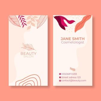 Tweezijdige verticale visitekaartjesjabloon voor schoonheidssalon
