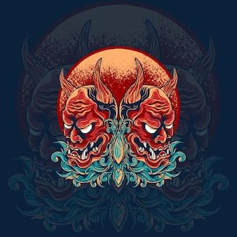 Twin hannya masker japanse illustratie