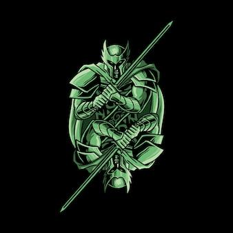 Twin knight vector illustratie spiegel stijl