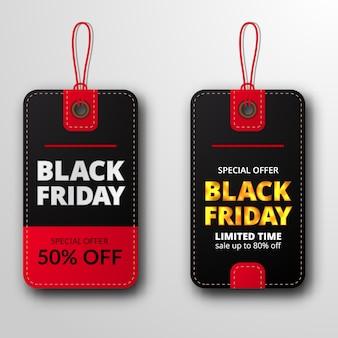 Twin pricetag label prijs kortingslabel voor zwarte vrijdag verkoopaanbieding sjabloon voor kleding mode
