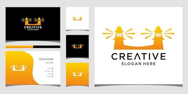 Twin tower-logo-ontwerp met zakelijke kaartsjabloon