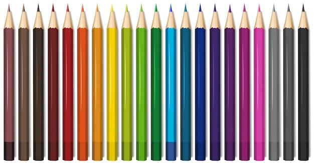 Twintig kleuren van kleurpotloden