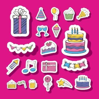 Twintig stickers voor verjaardagsviering