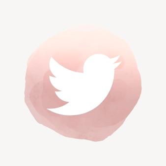 Twitter app icoon vector met een aquarel grafisch effect. 2 augustus 2021 - bangkok, thailand