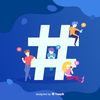 Twitter-hashtag. tieners op sociale media. personage ontwerp.