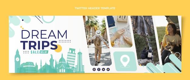 Twitter-header voor reizen in platte stijl