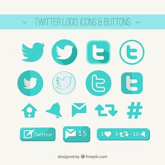 Twitter logo, pictogrammen en knoppen