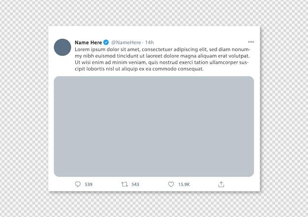 Twitter-post of tweet voor sociale media