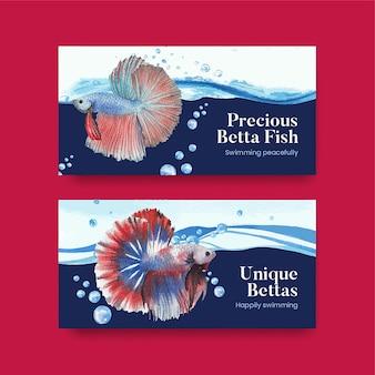 Twitter-sjabloon met betta-vissen in aquarelstijl