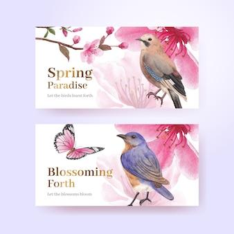 Twitter-sjabloon met bloesem vogel conceptontwerp aquarel illustratie