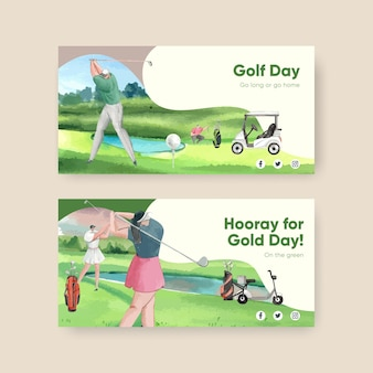 Twitter-sjabloon met golfliefhebber in aquarelstijl