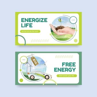 Twitter-sjabloon met groene energieconcept in aquarel stijl