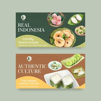 Twitter-sjabloon met indonesische snack