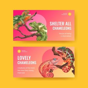 Twitter-sjabloon met kameleonhagedis in aquarelstijl