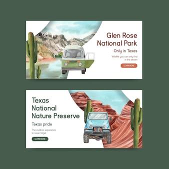 Twitter-sjabloon met nationale parken van het concept van de verenigde staten, aquarelstijl