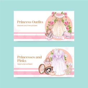Twitter-sjabloon met prinsessenoutfit, aquarelstijl
