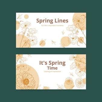 Twitter-sjabloon voor spandoek met lente lijn kunst conceptontwerp aquarel illustratie