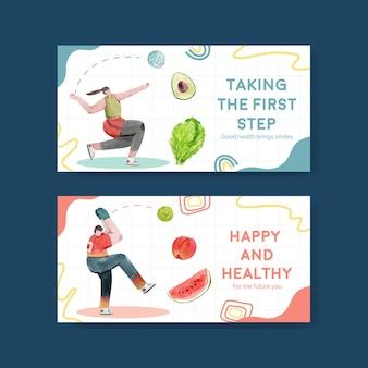 Twitter-sjabloon voor wereldgezondheidsdag in aquarel stijl