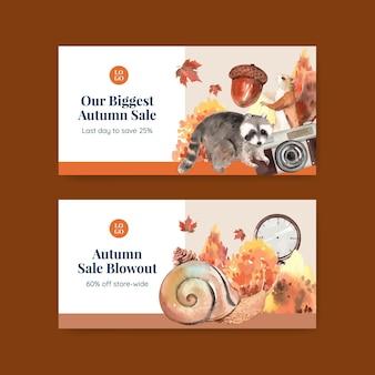 Twitter-sjabloonset met herfstkampeerconcept, aquarelstijl