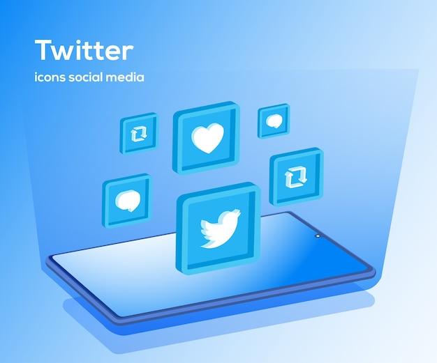 Twitter social media iconen met smartphone-symbool
