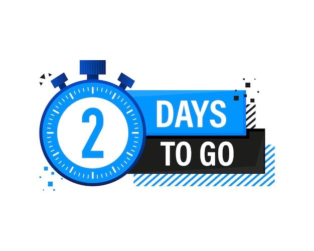 Two days to go timerbanner, blauwe embleembanner