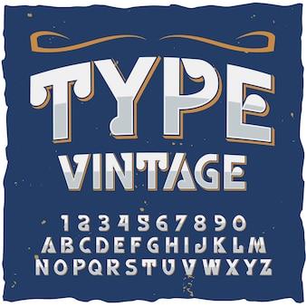 Typ alfabet met vintage stijl