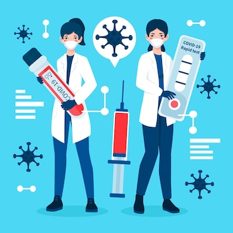 Type coronavirus-test met mensen