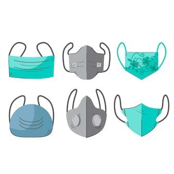 Type gezichtsmaskers concept