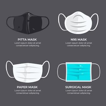 Type gezichtsmaskers Premium Vector
