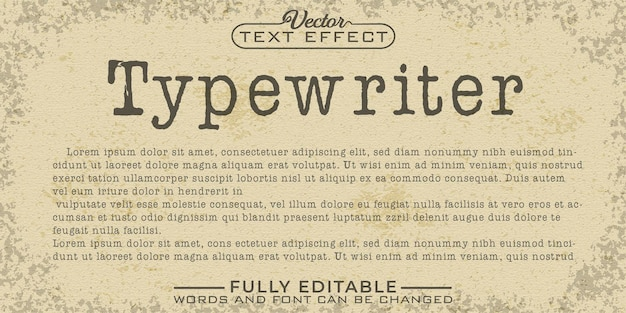 Typemachine bewerkbare teksteffectsjabloon