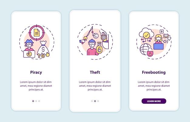 Typen auteursrechtinbreuken onboarding mobiele app-paginascherm met concepten