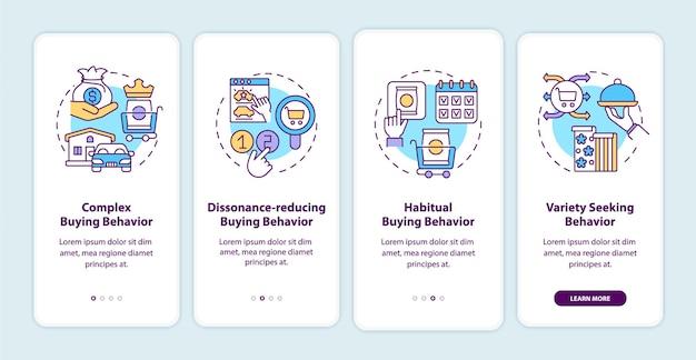 Typen consumentengedrag onboarding paginascherm voor mobiele apps met concepten