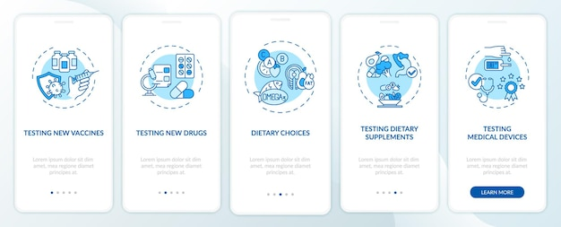 Typen klinische onderzoeken onboarding mobiele app-pagina