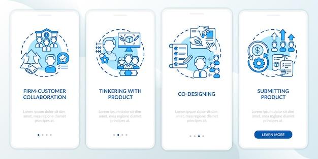 Typen voor het maken van samenwerkingsverbanden op het scherm van de mobiele app-pagina met concepten. samenwerking tussen firma's, co-designing walkthrough 4 stappen grafische instructies. ui-sjabloon met rgb-kleurenillustraties