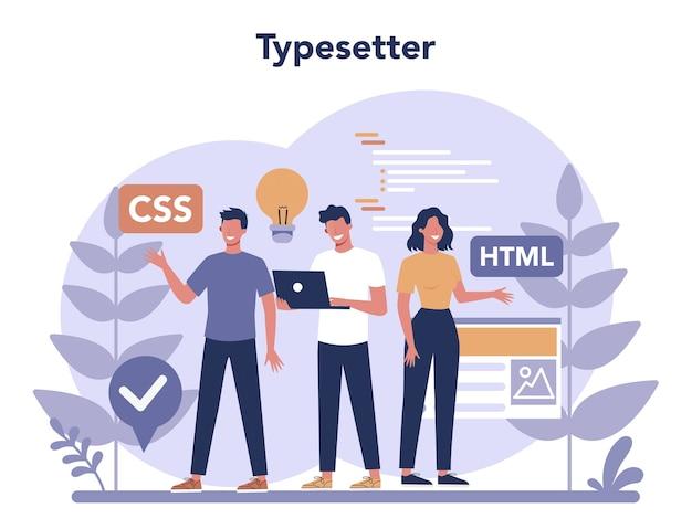 Typersetter concept. website bouwen. proces van het maken van een website, codering, programmeren, bouwen van interface en het maken van inhoud.