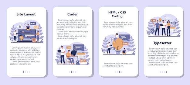 Typersetter mobiele applicatie banner set. website bouwen. proces van het maken van een website, codering, programmeren, bouwen van interface en het maken van inhoud. geïsoleerde vectorillustratie