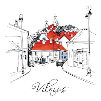 Typische straat in de oude binnenstad van vilnius, litouwen