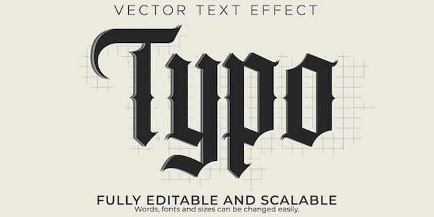 Typo schets teksteffect, bewerkbaar logo en blackletter tekststijl