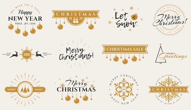 Typografie badges voor kerstmis, nieuwjaar en winter