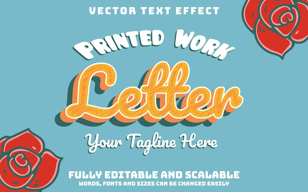 Typografie brief bewerkbaar teksteffect