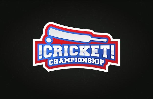 Typografie cricket sport stijl embleem logo met bal