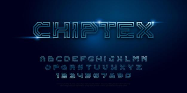 Typografie digitale chip ontwerpconcept vector printplaat stijl lettertype digitstechnology