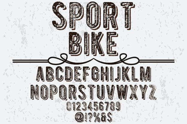 Typografie lettertype sport fiets