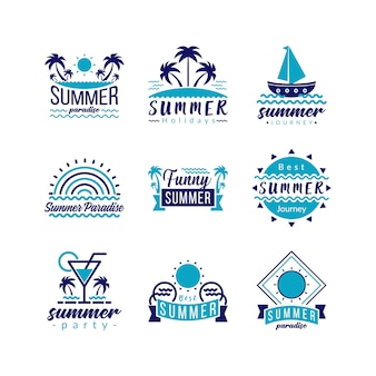 Typografie logo pictogram set retro travel en tropical paradise adventure.