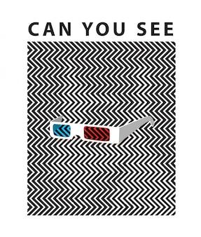 Typografie met hond op 3d bril optische illusie