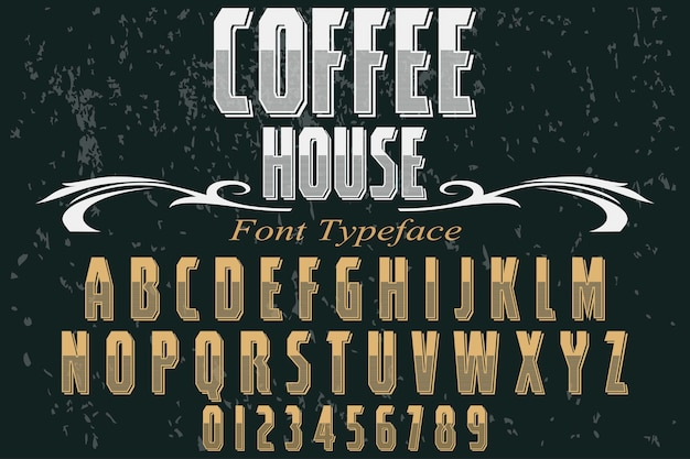 Typografie shadow effect lettertype ontwerp koffiehuis