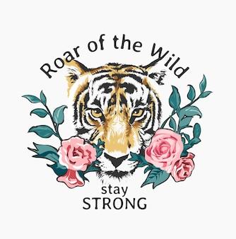 Typografie slogan met tijger hoofd en rozen patch illustratie