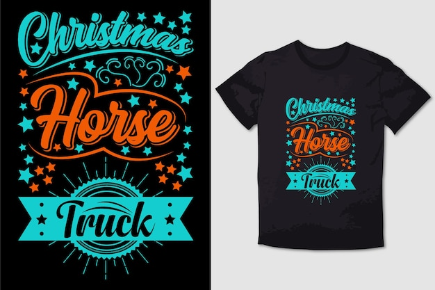 Typografie t-shirt ontwerp kerst paard truck